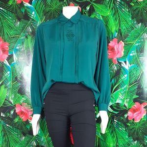 Vintage dark green 80s blouse